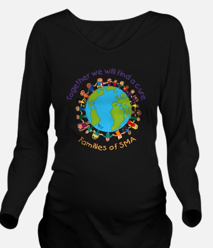 Together_world_blk Long Sleeve Maternity T-Shirt