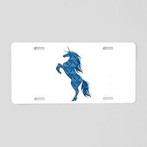 Blue Fire Unicorn Aluminum License Plate