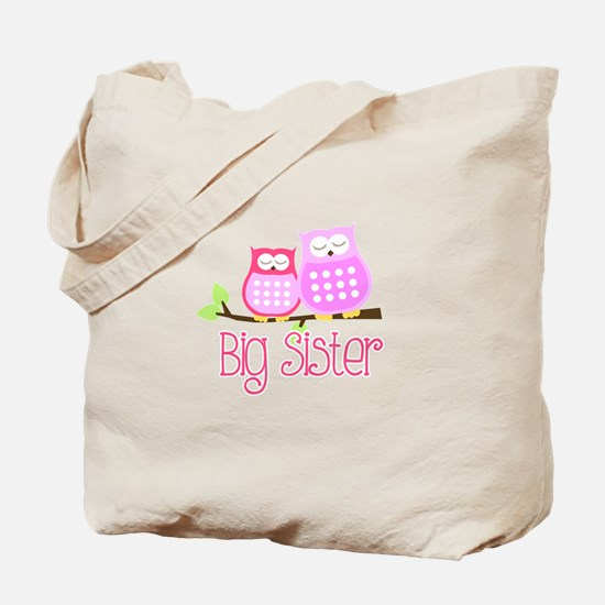 Big Sister Pink Owls Tote Bag