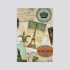 Vintage Travel collage Rectangle Magnet