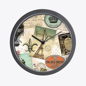 Vintage Travel collage Wall Clock