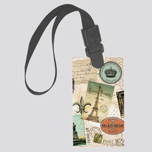 Vintage Travel collage Large Luggage Tag