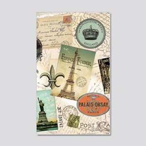 Vintage Travel collage 20x12 Wall Decal
