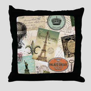Vintage Travel collage Throw Pillow