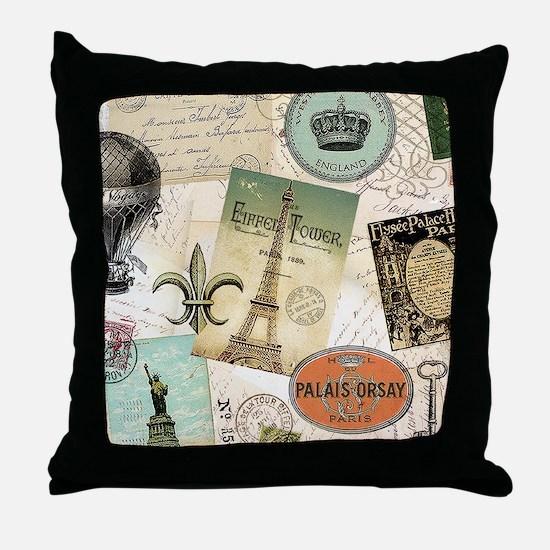 Vintage Travel collage Throw Pillow