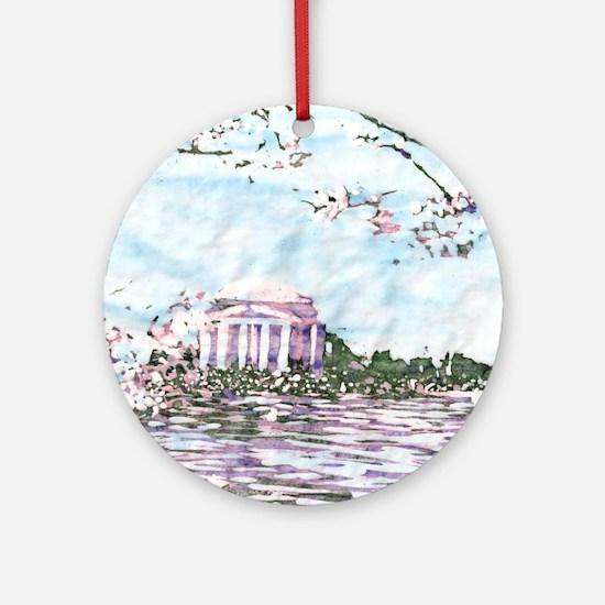 Cherry Blossoms: Jefferson Memorial Round Ornament