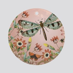 MODERN VINTAGE french dragonfly Round Ornament