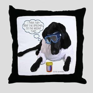 Black Lab Scientist Throw Pillow