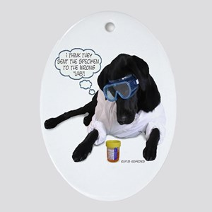 Black Lab Scientist Oval Ornament