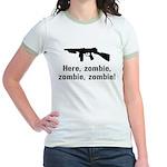 Here Zombie Zombie Zombie Gun Jr. Ringer T-Shirt