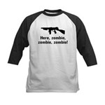 Here Zombie Zombie Zombie Gun Kids Baseball Jersey