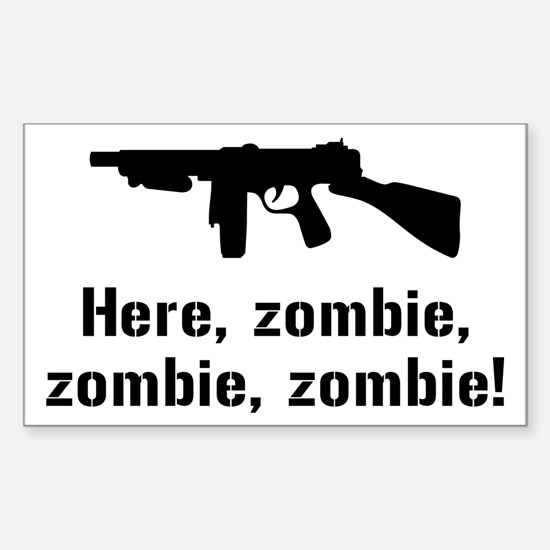 Here Zombie Zombie Zombie Gun Sticker (Rectangle)