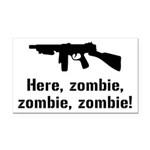 Here Zombie Zombie Zombie Gun Rectangle Car Magnet