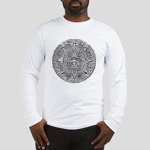 Aztec Calendar Stone wt 25 ton Long Sleeve T-Shirt