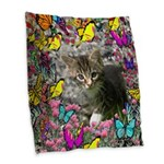 Emma Gray Tabby Butterflies Burlap Throw Pillow