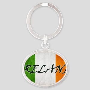 irish_flag_banner_4w Oval Keychain