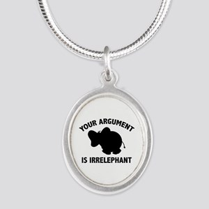 Your Argument Is Irrelephant Silver Oval Necklace