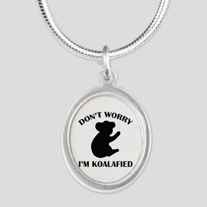 Don't Worry I'm Koalafied Silver Oval Necklace