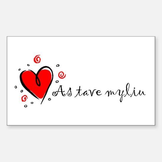 """I Love You"" [Lithuanian] Rectangle Decal"