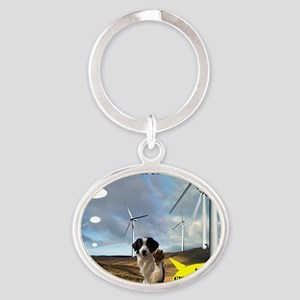 Anti Windfarm Welsh Mountains Border Oval Keychain