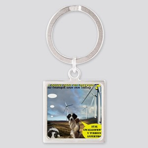 Anti Windfarm Welsh Mountains Bord Square Keychain