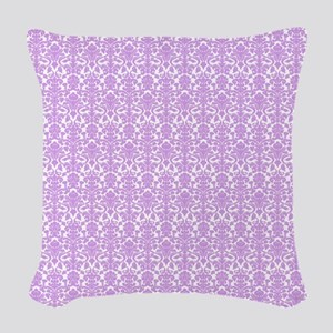 Lilac White Damask Pattern Woven Throw Pillow