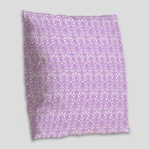 Lilac White Damask Pattern Burlap Throw Pillow