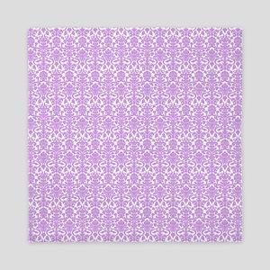 Lilac White Damask Pattern Queen Duvet