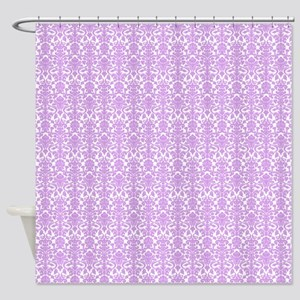 Lilac White Damask Pattern Shower Curtain
