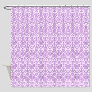 Lilac White Damask Pattern Shower Curtain