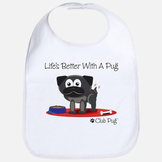 Black Pug Bib