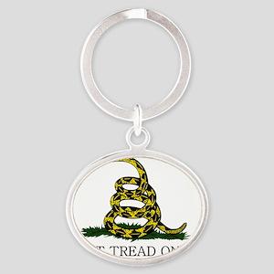 Gadsden Flag - White Oval Keychain