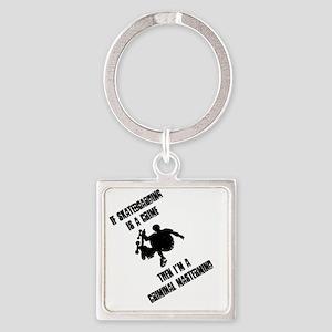 skate_bk_10x10 Square Keychain