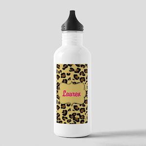 Cheetah Print Pink Personalized Water Bottle