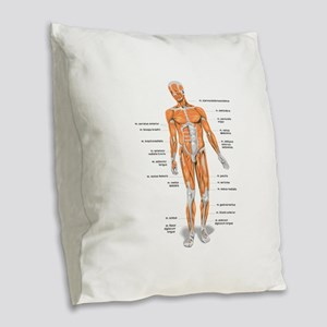 Muscles anatomy body Burlap Throw Pillow