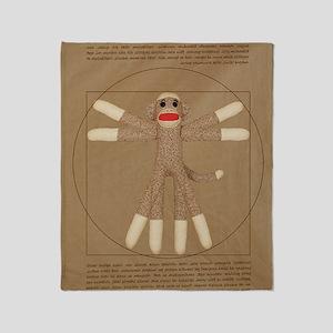 Vitruvian monkey shirt Throw Blanket