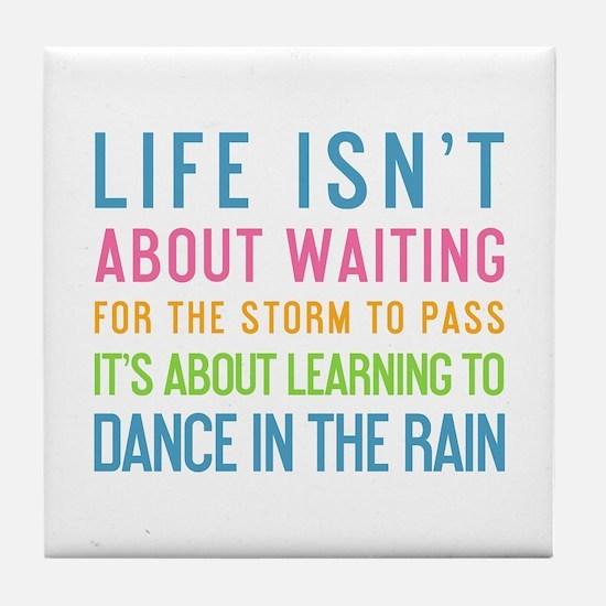 Cute Dancing in the rain Tile Coaster