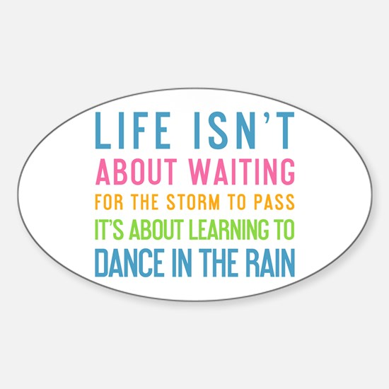 Cute Dance in the rain Sticker (Oval)