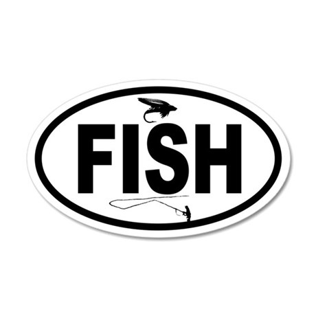 Fisherman and Fly 35x21 Oval Wall Peel