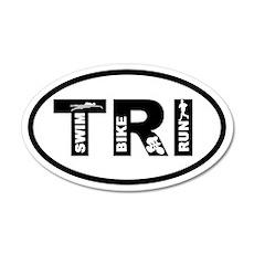 Triathlon Swim Bike Run 20x12 Oval Wall Peel