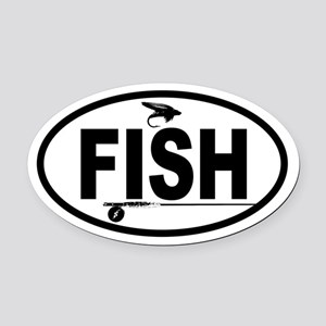 Fishing Fly and Rod Oval Car Magnet