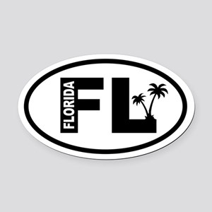 Florida Palm Trees Oval Car Magnet