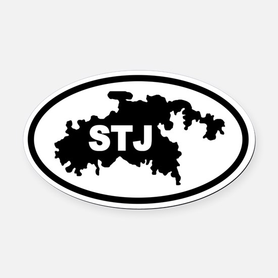 St. John's STJ Map Oval Car Magnet
