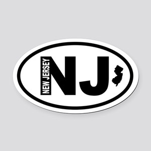 New Jersey Map Oval Car Magnet