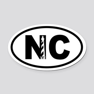 North Carolina Inset Lighthouse Oval Car Magnet