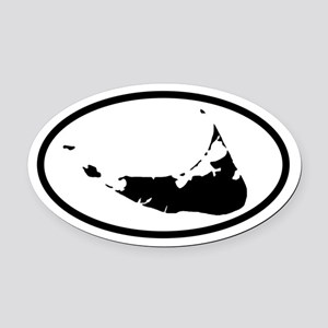 ACK Nantucket Map Oval Car Magnet