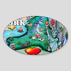2-New York Map 11x17 Sticker (Oval)