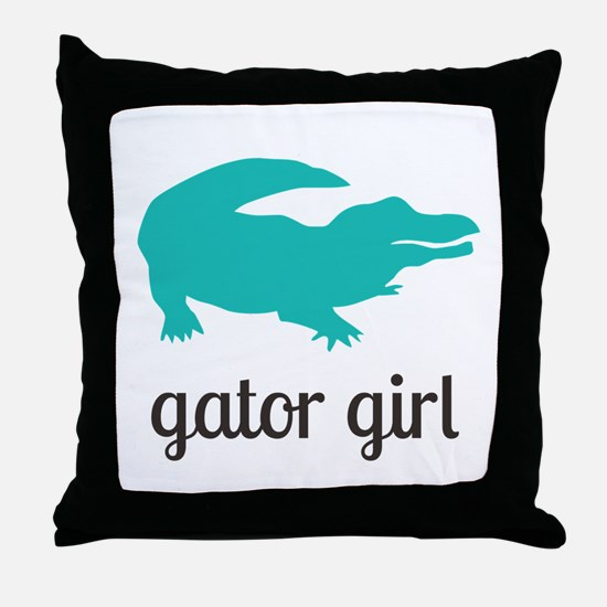 Gator Girl Throw Pillow