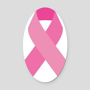 Single Pink Ribbon Oval Car Magnet