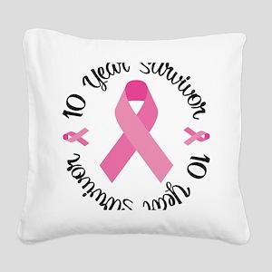 10 Year Survivor Square Canvas Pillow